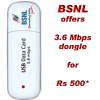 BSNL to launch offering 3G Dongle 3.6Mbps at Rs 500 to ADSL Broadband Customers