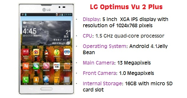 lg optimus Vu 2 Plus1